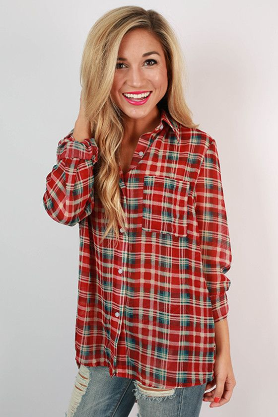 With plaid print and sheer material, what's not to love about this adorable top! The breathable, light-weight fabric is perfect for those warmer fall days!
