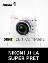 In perioada 18 februarie - 18 martie poti achizitiona la un SUPER PRET aparatul foto Nikon 1 J1 cu obiectiv 1 NIKKOR VR 10-30mm. In plus primesti BONUS un card SanDisk Ultra 16GB si o geanta Nikon 1.