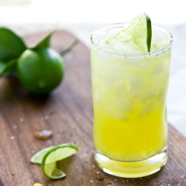 Skinny Margarita: 1 cup lime juice 1 cup water 20 drops liquid stevia 6 oz tequila 2 oz fresh-squeezed orange juice Ice Salt for glass rim (optional)
