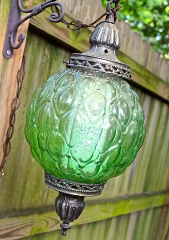 vintage green glass swag lamp