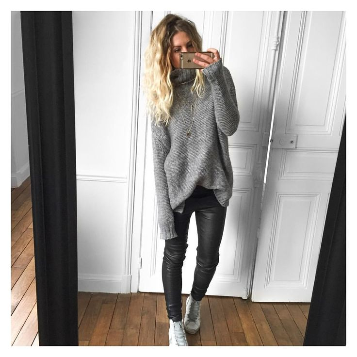 """@meleponym on Instagram: """"Pas envie✔ pull #Zara (old) cuir #samsoe sur @cyrielleforkure baskets #goldengoose #goldengoosedeluxebrand sur @netaporter #ootd"""""""