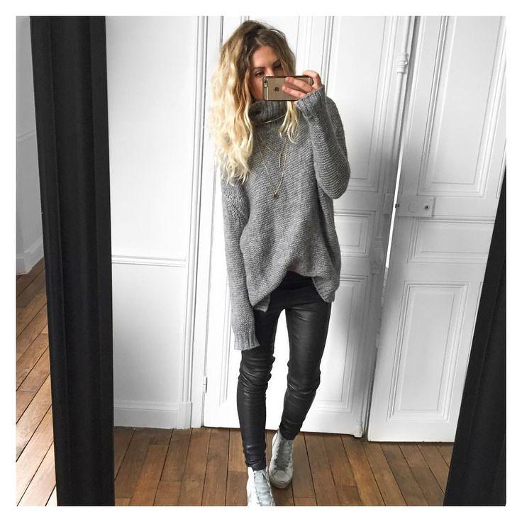 "@meleponym on Instagram: ""Pas envie✔ pull #Zara (old) cuir #samsoe sur…"