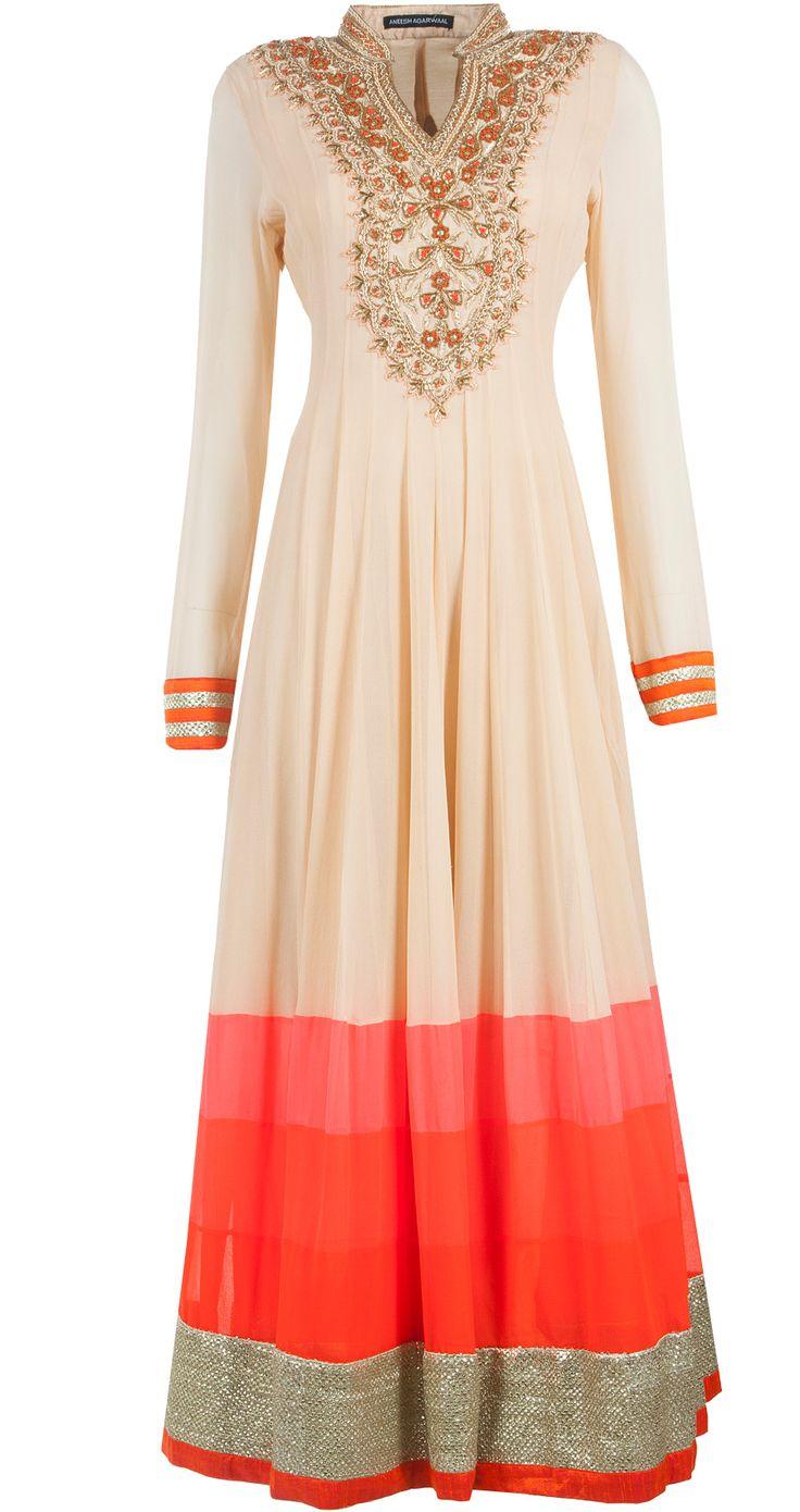 Beige, pink and orange embellished kalidaar set by ANEESH AGARWAAL. Shop at http://www.perniaspopupshop.com/whats-new/aneesh-agarwaal-beige-pink-and-orange-embellished-kalidaar-set-anac081303pl.html