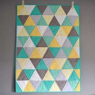 Gender Neutral Baby Quilt | Grey, green, yellow triangle bab… | Flickr