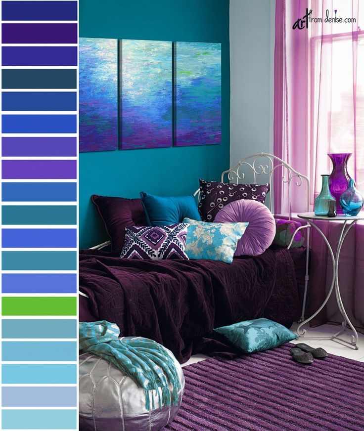 Purple And Grey Color Schemes: Blue & Purple Abstract 3 Piece Wall Art Canvas Triptych