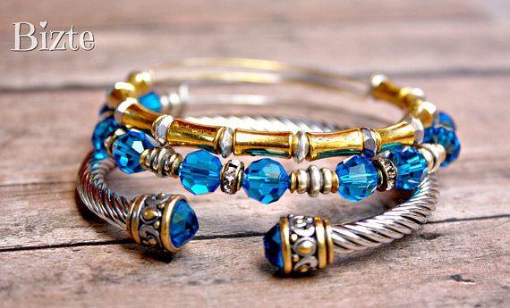 Adjustable Light Sapphire Aqua Swarovski Crystal Gold Bamboo