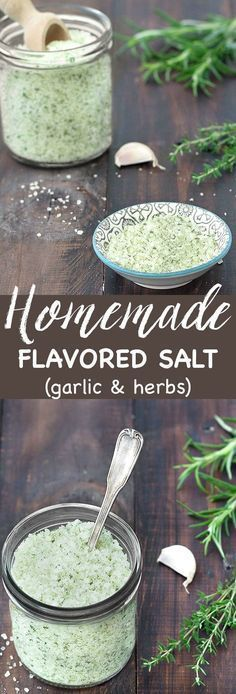 Homemade Flavored Salt (garlic and herbs) - adds a punch of flavor to all your dishes: meat, poultry, fish, pasta, grilled vegetables, french fries, burgers...It also makes a lovely DIY gift for friends and family!