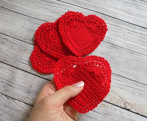 Crochet coasters for home Set of 4 stands under a hot cup