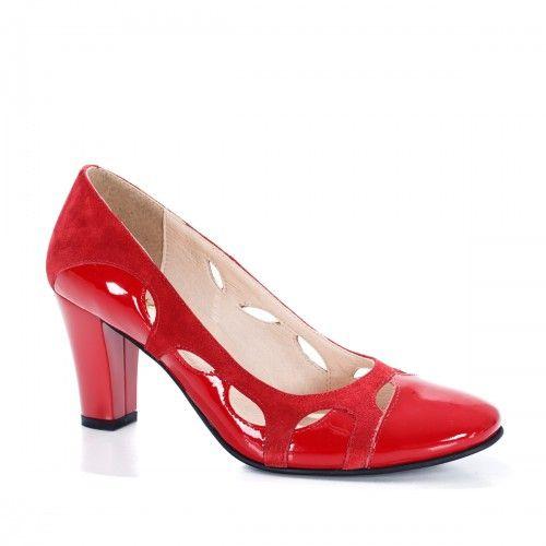 Pantofi Dama Piele Joris Rosii Heels Shoes Pumps