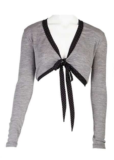 Wrap - Grey: Tie blouse in organic wool http://www.ecouture.com/wrap-grey.html?___store=gb&___from_store=gb  Made from nice soft, organic merino wool. The blouse has black jersey edges with delicate, small white dots. A lovely blouse with a classic Ecouture twist that makes it just a little more fun. It can be worn over many of our dresses or our Yoga line.