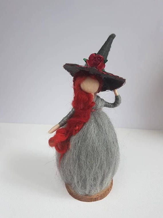 Check out this item in my Etsy shop https://www.etsy.com/uk/listing/541678228/grey-witch-red-gray-needle-felt-witch