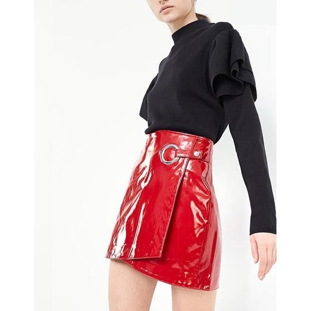 Sexy Red Faux Patent Leather Wrap Mini Skirt