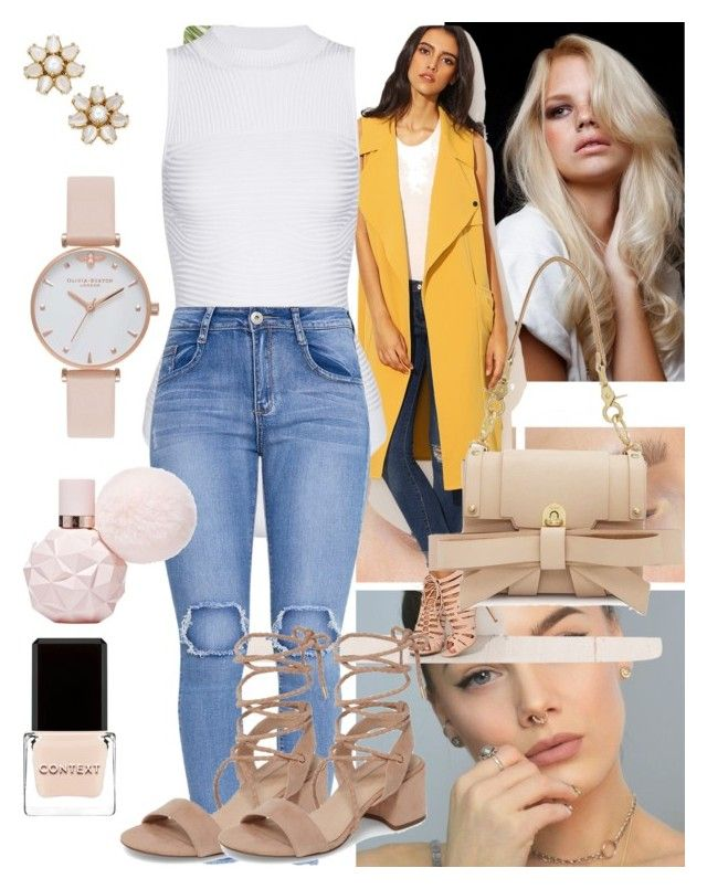 """P619| Bodysuit| White|| Jeans| Skinny|| Blue| Heels| Nude|| Coat| Sleeveless| Yellow|| Wavy| Handbag| Nude|| Nude eye| Nude lip| Nail| Nude|| Watch| Nude|| Earrings| Stud|| Gold| Pearl| ⚜️"" by emramisa-1 on Polyvore featuring Cushnie Et Ochs, Niels Peeraer, Topshop, Context, Kate Spade and Olivia Burton"