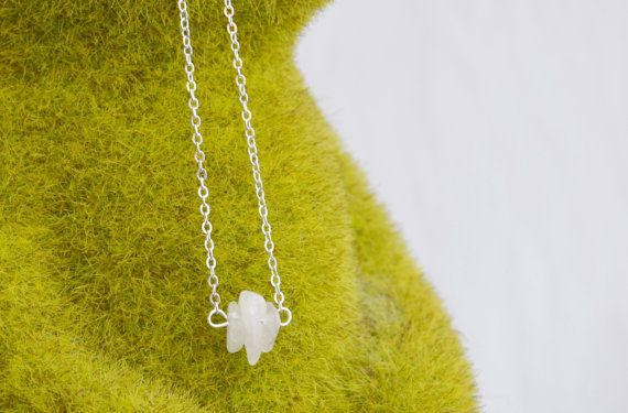 Rose Quartz Necklace Dainty Crystal Pendant Silver by IndigoLizard