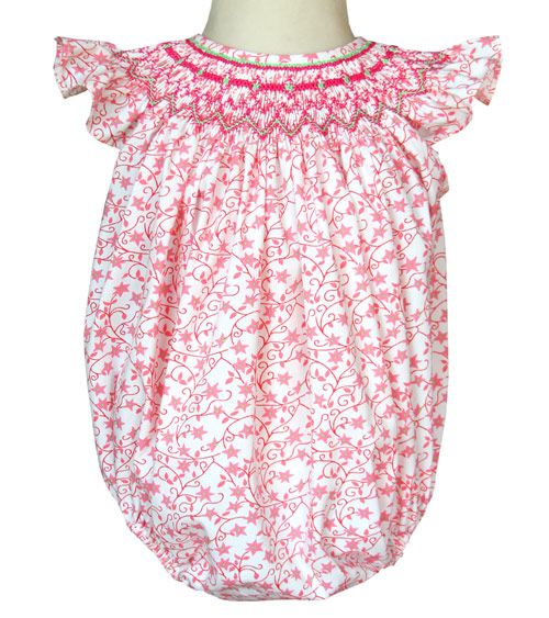 smocked baby girls pink bubble