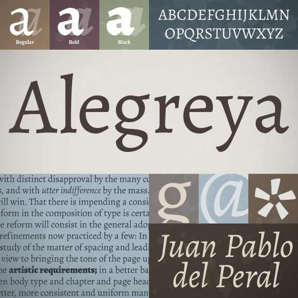 Alegreya, de Juan Pablo Del Peral (Huerta tipográfica).