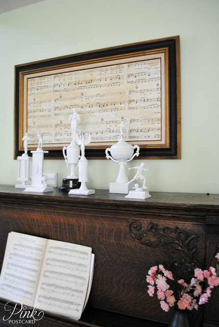 sheet music wall art (and more white-painted kitsch items)