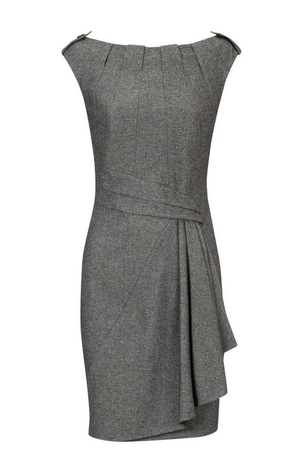 Karen Millen Twisted Tweed Dress, Grey