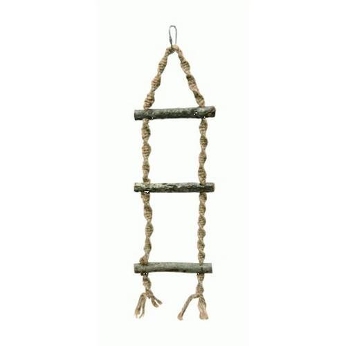 Fabricado con madera y cuerdas 100% naturales, este columpio sirve para que se posen nuestras aves tanto en jaulas como en cualquier otro lugar donde queramos adaptarla con su enganche de mosquetón.