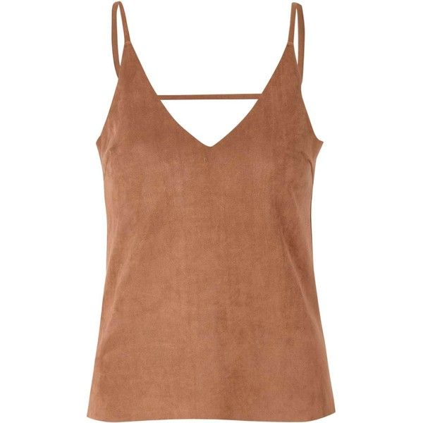 Tan Suedette Cami Top (£21) ❤ liked on Polyvore featuring tops, brown, spaghetti-strap tank tops, spaghetti strap tank, camisoles & tank tops, tank top and camisole