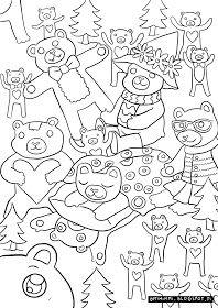 OPTIMIMMI   A free coloring page of teddy bears in a forest / Ilmainen värityskuva nallekarhuista metsässä