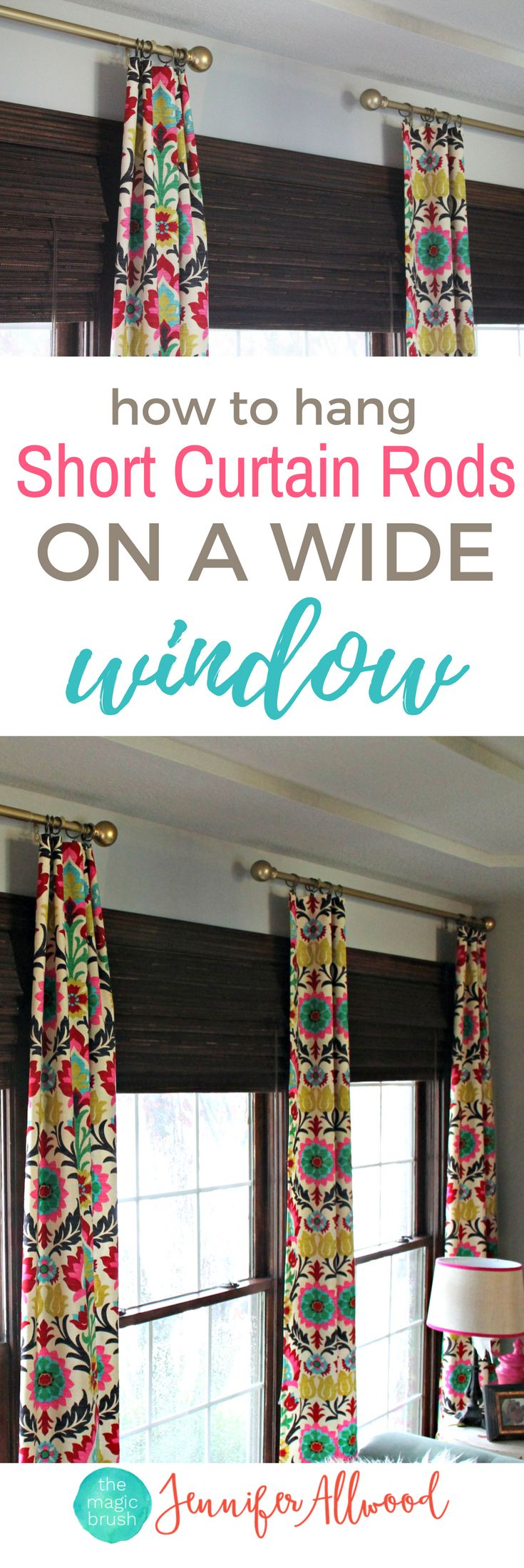 how to hang short curtain rods on a wide window | long window treatment ideas for long windows  | matching curtain rods | curtain ideas and decorating ideas by The Magic Brush