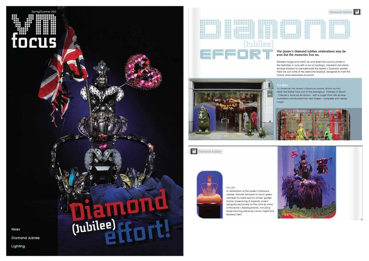 Our base Queen Diamond Jubilee crown decorated by Lanvin featured on the Cover of - Visual Merchandising Magazine - VM Focus. It also features another base crown decorated by Mulberry and our Jubilee inspired Corgi for Ted Baker!