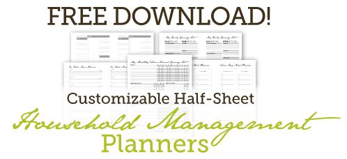 Free Customizable Half-Sheet Household Management Planners