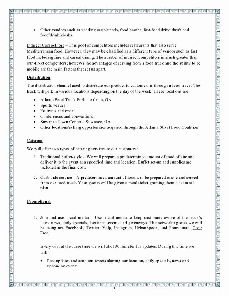 New Mobile Catering Business Plan Template Business plan