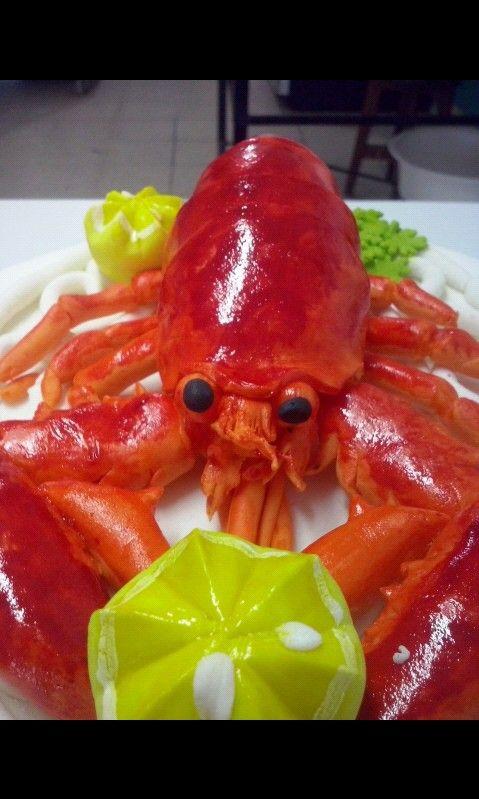 Lobster in gumpaste, funny cake topper XD