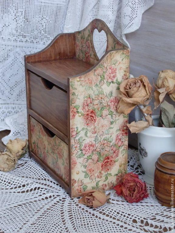 """Купить Мини-комод """"Розы и жемчуг"""" - бежевый комод деревянный, миникомод декупаж дерево"""