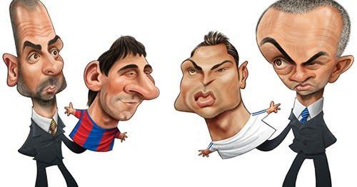 """Caricaturas de los clásicos Barça-Madrid, Madrid-Barça del fútbol español con """"Pep y Messi vs Mou y Ronaldo"""" por Ricardo Galvao."""