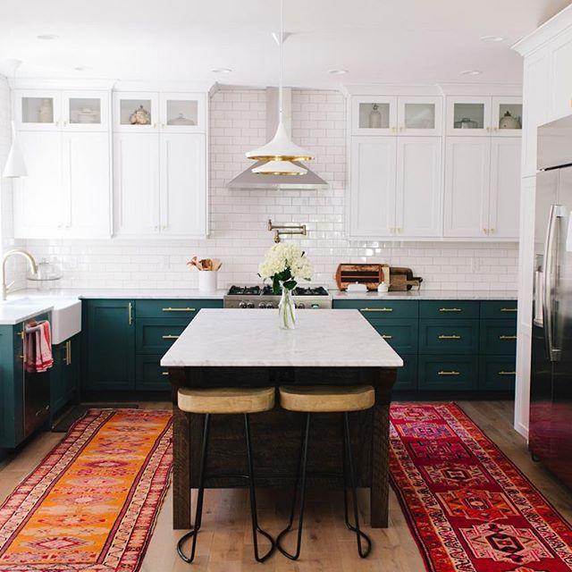 This kitchen of @ali_hynek 's is officially my kitchen crush! This amazing mama and business owner of @nenaandco had her home featured by @designsponge recently and we were SO thrilled that two of our tribal runners found a home in her stunning kitchen! Please check out this amazing mama, her most precious triplets & her amazing company that has the most beautiful bags and wares from Guatemalan textiles! Seriously though, be ready because her feed will give you the baby fever like woah…