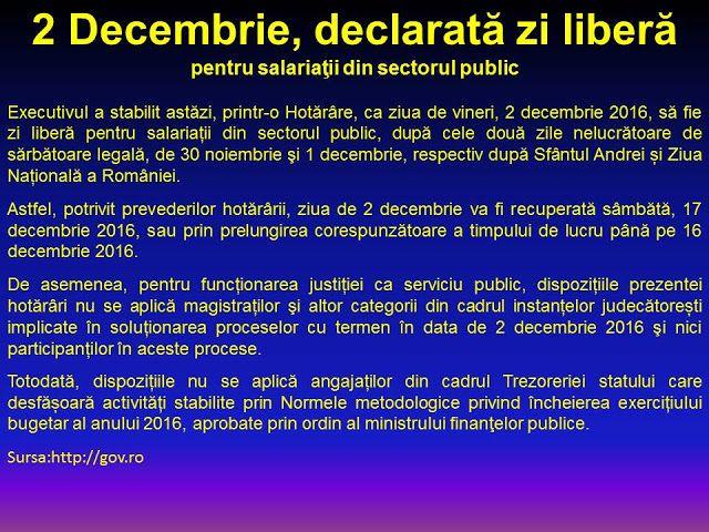 Profu`economist: 2 DECEMBRIE 2016 - DECLARATĂ ZI LIBERĂ