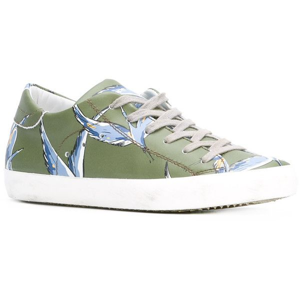 Philippe Model - Classic birds sneakers - women - Leather/rubber - 38 (506 880 LBP) ❤ liked on Polyvore featuring shoes, sneakers, rubber sneakers, leather trainers, rubber footwear, green leather shoes and green sneakers
