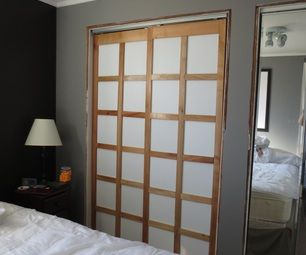 DIY shoji screen style closet doors