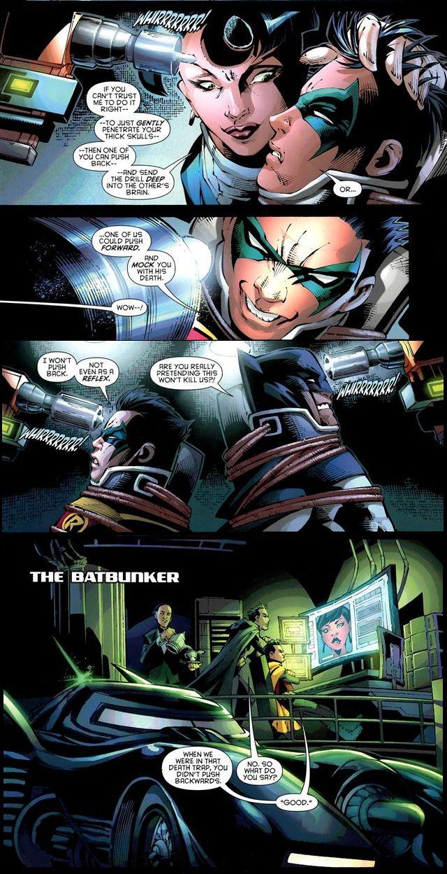 So Damian thought Grayson might push his head into the screwdriver...? Batman And Robin #19 Dick Grayson Damian Wayne Robins Batfam DC Comics Superheroes