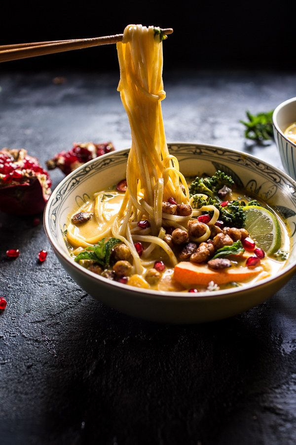 Thai Pumpkin Noodle Soup with Crunchy Chickpeas | Here Are 21 Healthy Fall Soups To Stock Your Freezer