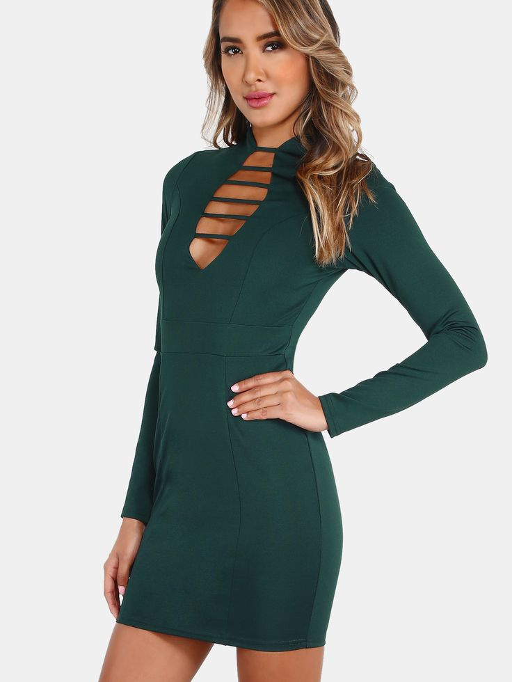 Plunging Strap Sleeved Dress HUNTER GREEN — 0.00 € --------------color: Green size: L,M,S,XS