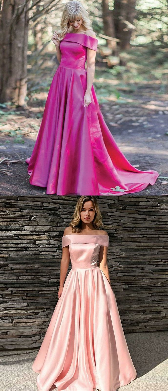 af08a9979e A-Line Off-the-Shoulder Sweep Train Pink Satin Prom Dress, modest pink off  the shoulder long prom dresses, unique fuchsia swing evening dresse with  pleats ...