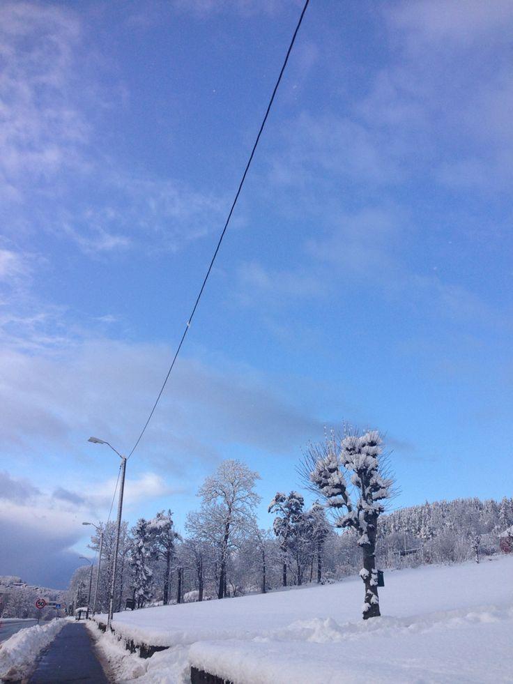 Snow in Ålesund, norway