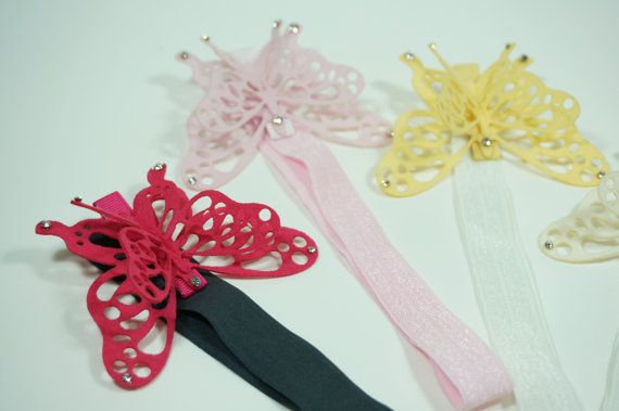 Check out this item in my Etsy shop https://www.etsy.com/listing/185699728/felt-butterfly-baby-elastic-hairband