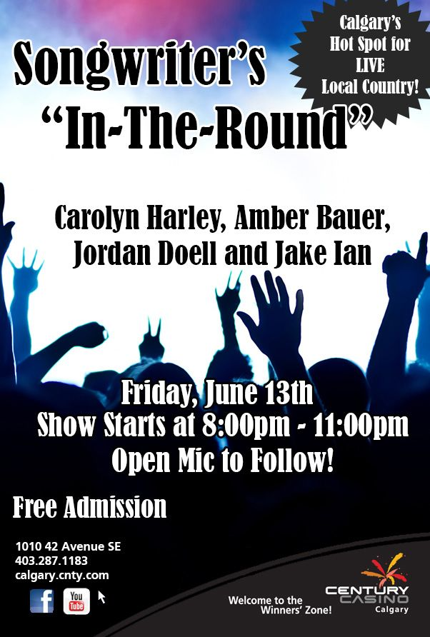 TONIGHT @CenturyCasinoCa #CarolynHarley hosts our #SongwritersCircle Lineup incl: @Amber Bauer @JordenDoell @Jake_Ian