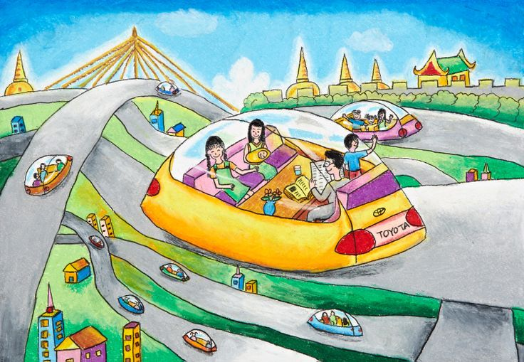 'The Magnet Car' by Thasuthida Thetthong, Aged 13, Thailand: 1st Contest, Gold #KidsArt #ToyotaDreamCar