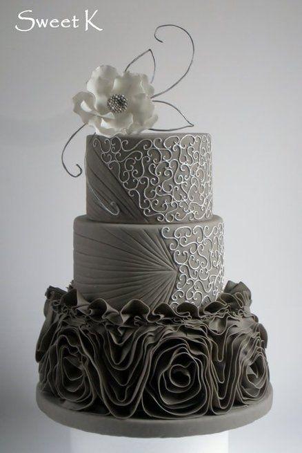 Grey and silver Vera Wang ruffle wedding cake  | followpics.co