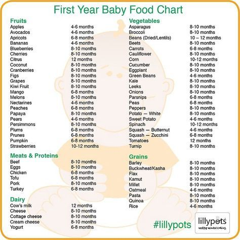 First Year Baby Food Chart