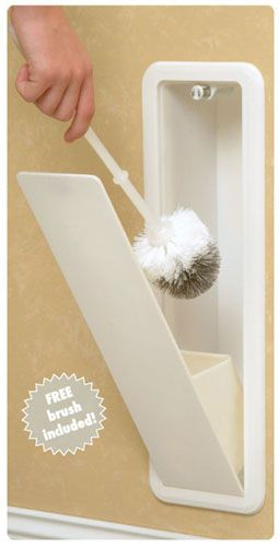 Toilet bowl brush hidden in the wall. Hidden storage. Cool idea!