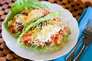 Slow-Cooker Chicken Tacos recipe - I like the idea of lettuce wraps instead of taco shells, nice change.