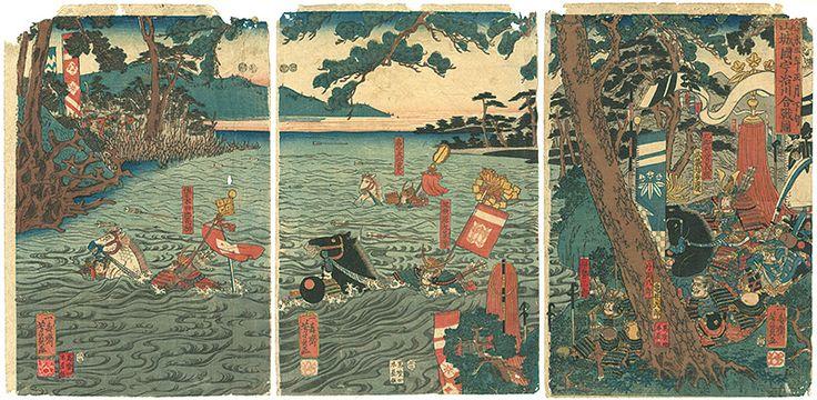 The Battle of the Uji River in Yamashiro Province by Yoshikazu / 寿永三年正月下旬 山城国宇治川合戦図 芳員