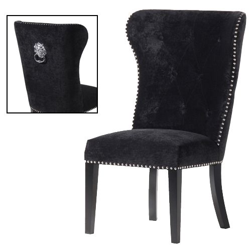 The CH Furniture Black Dining Chair With Lion Knocker Is A Stylish Upholstered Soft Natural Oak Legs And Superbly Designed Perfectly